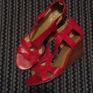 Nine West Leather Padeno Wedge Sandals